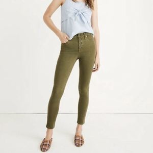 """Madewell 9""""Mid-Rise Skinny Green Button Jeans 27"""
